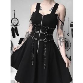 Black Gothic Dress Buttons Zipper Metal Details Square Neck Sleeveless Polyester Bodycon Retro Gothic Dress