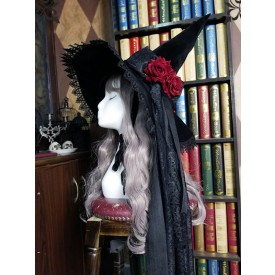 Black Lolita Hat Rose Bows Lace Accessory Witch Hat Lace Bow Polyester Lolita Accessories