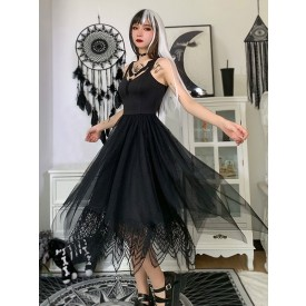 Blakc Gothic Dress V-neck Sleeveless Buttons Polyester Gothic Long Dress