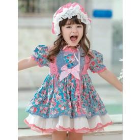 Children's Sweet Lolita Dress Headwear Blue Ruffles Polyester Long Sleeve Flora Printed Kids One Piece Dress