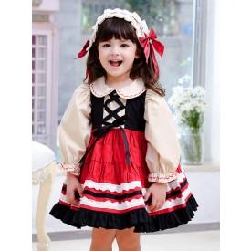 Children's Sweet Lolita Dress Headwear Red Bows Ruffles Polyester Long Sleeve Kids One Piece Dress