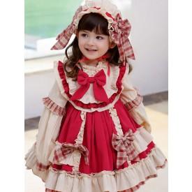 Children's Sweet Lolita Dress Headwear White Ruffles Polyester Long Sleeve Red Bow Kids One Piece Dress