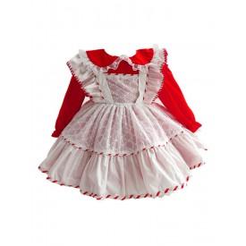 Children's Sweet Lolita Dress Red Polyester Long Sleeve Kids One Piece Dress