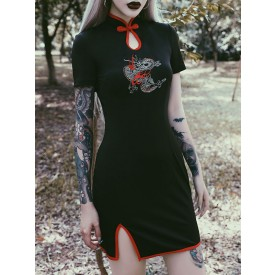 Chinese Style Lolita OP Dress Embroidered Cheongsam Short Sleeves Lolita One Piece Dresses