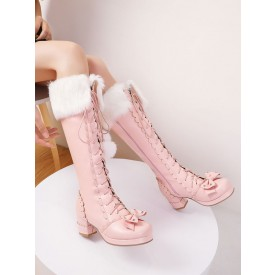 Classic Lolita Boots Knee High Chunky Heel Platform Square Toe Lace Up Pink Lolita Winter Boots
