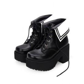 Classic Lolita Boots Lace Up Two Tone Round Toe Platform Lolita Footwear