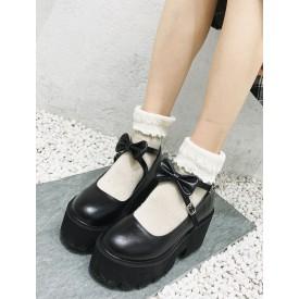 Classic Lolita Footwear Bow Strappy Platform PU Black Lolita Shoes
