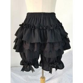 Classic Lolita Shorts Ruffle Lace Bow Black Cotton Lolita Bottom