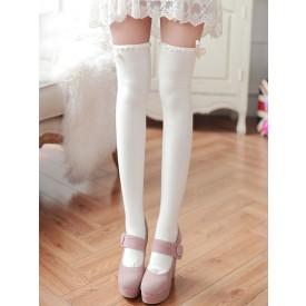 Classic Lolita Stockings White Bows Ribbons Printed Lolita Knee High Socks