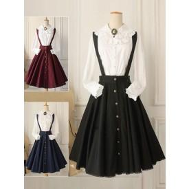 Classical Lolita Dress Military Style Cross Regression Lolita Salopette Button Suspender Skirt