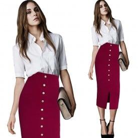Elegant High Waist Slim Metal Button Long Skirt