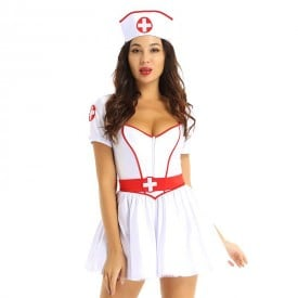 Erotic Nurse Short Sleeves Tutu Fancy Dress with Headband Belt