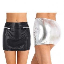Exotic Shiny Stretchy Wetlook Faux Leather Fake Zipper Pockets Mini Skirt