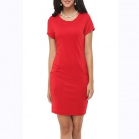 Fashion Cotton Solid Short-Sleeved Slim Dress