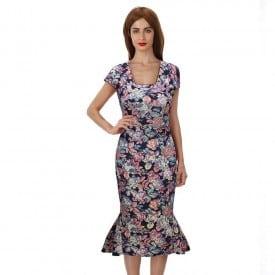 Floral Sleeveless Hip Fish Dress