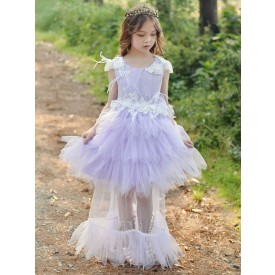Flower Girl Dresses Jewel Neck Polyester Sleeveless Knee-Length Princess Silhouette Feathers Lace Kids Dresses
