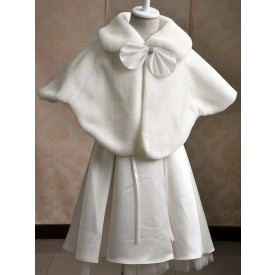 Flower Girl Wraps Ecru White Lace Up Sleeveless Batwing Sleeves Jewel Neck Faux Fur Flower Girl Accessories
