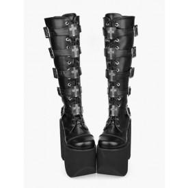 Gothic Black Lolita Boots High Platform Buckles Cross Print