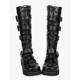 Gothic Black Lolita Boots Sraps Buckles Shoelace
