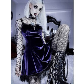 Gothic Dress Purple Nets Cut Out Lace Sleeveless Polyester Bodycon Gothic Sexy Slip Dress