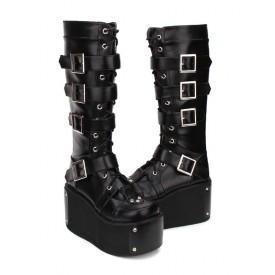 Gothic Lolita Boots Buckle Rivet Platform PU Black Lolita Footwear