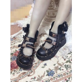 Gothic Lolita Boots Fringe Closed Toe Flat Heel Faux Leather Chains Black Lolita Boots