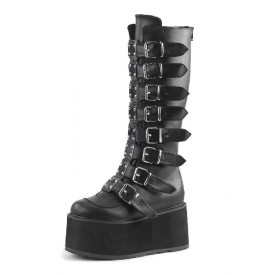 Gothic Lolita Boots PU Leather Metallic Grommets Round Toe Knee High Black Lolita Footwear
