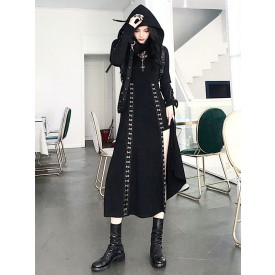 Gothic Lolita Cardigan Black Polyester Metallic Pattern Long Sleeves Hooded Overcoat