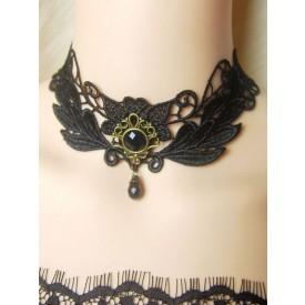 Gothic Lolita Choker Lace Gems Black Lolita Necklace