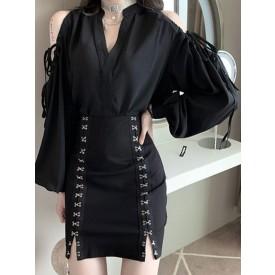 Gothic Lolita Dress Black Polyester Daily Casual Long Lolita Dress