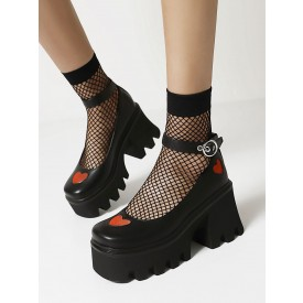 Gothic Lolita Footwear Black Heart Pattern Round Toe PU Leather Lace Up Lolita Pumps