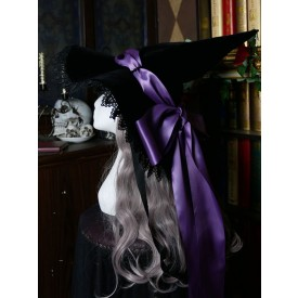 Gothic Lolita Hat Bows Lace Accessory Lace Bow Polyester Purple Lolita Witch Hat