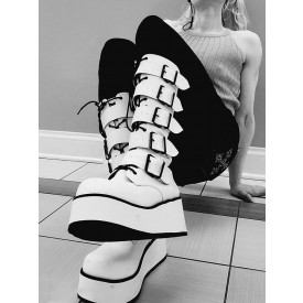Gothic Lolita Knee High Boots White Grommets Lace Up Metallic Round Toe PU Leather Lolita Footwear