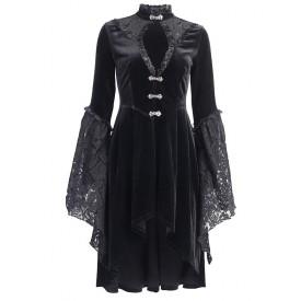 Gothic Lolita OP Dress Black Lace Cut Out Metal Details Lolita One Piece Dresses