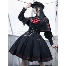 Gothic Lolita OP Dress Military Style 4 Pieces Set Academic Lolita Outfits Black Long Sleeves Military Lolita Sets