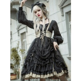 Gothic Lolita OP Dress Seven Deadly Sins Greed Black Cascading Ruffles Bowknots Neverland Floral Print Dark Lolita One Piece Dresses