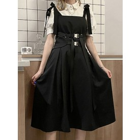 Gothic Lolita OP Dress Sleeveless Polyester Bows Metal Details Black Jumper SKirt