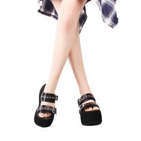 Gothic Lolita Sandals Rivets Open Toe PU Leather Black Lolita Summer Shoes