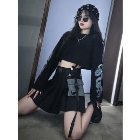 Gothic Lolita Skirt Black Polyester Plaid Pattern Lolita Skirts