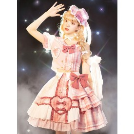 Idol clothes Lolita OP Dress 4-Piece Set Sleeveless Plaid Pattern Bows Metal Details Polyester Pink Lolita One Piece Outfit