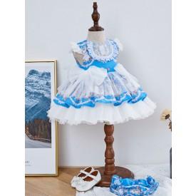 Kids Lolita Dress Blue Bows Frills Tutu Dress
