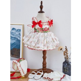 Kids Lolita Dress Floral Bows Tutu Dress 3 Piece Set