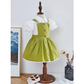 Kids Lolita Dress Set Pinafore Dress And Shirt