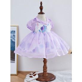 Kids Lolita Dress Starfish Print Puff Sleeve Flower Girl Dress