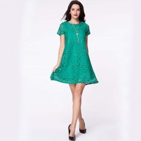Lace One-Neck Short-Sleeved Dress