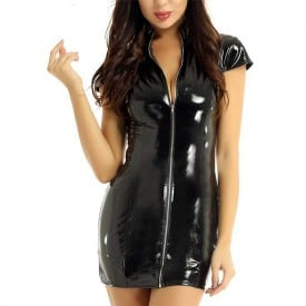 Leather Wet Look Latex Front Zippered Slim Fit Evening Party Dress
