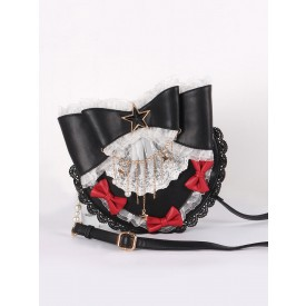 Lolita Bag PU Leather PearlsBows Lace Bow PU Leather Cross-body Bag Dark Navy Lolita Accessories