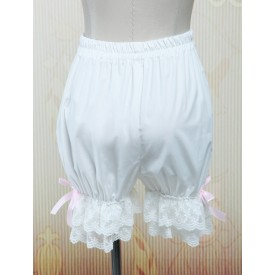Lolita Bloomers Lace Trim Pink Bow Ribbons