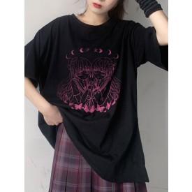 Lolita Blouse For Women Polyester Jewel Short Sleeves Black Lolita T-Shirt