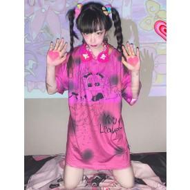 Lolita Blouse For Women Rose Polyester Jewel Neck Short Sleeves Polyester Lolita T-Shirt